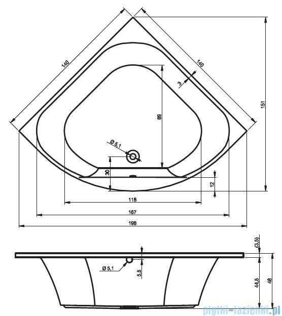 Riho Atlanta wanna symetryczna 140x140 z hydromasażem Hit Hydro 6+4+2 BB70H2
