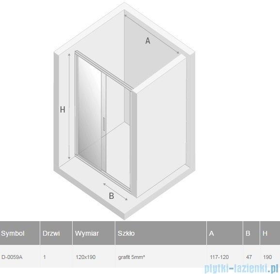 New Trendy Varia drzwi przesuwne 120x190 cm szkło grafitowe D-0059A
