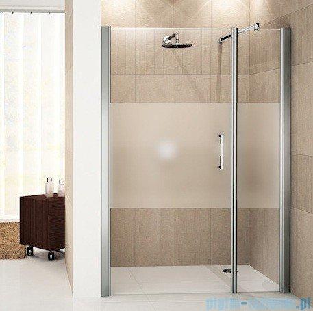 Novellini Drzwi do wnęki z elementem stałym GIADA G+F 114 cm lewe szkło przejrzyste profil srebrny GIADNGF114S-1B