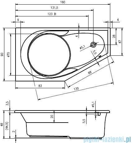 Riho Yukon wanna asymetryczna 160x90 prawa + nóżki + syfon BA34/09/AMC55