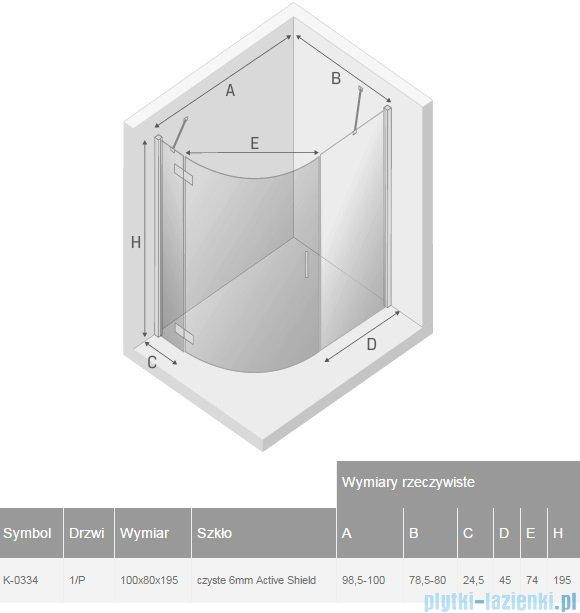 New Trendy New Merana kabina asymetryczna 100x80x195 cm prawa przejrzyste K-0334