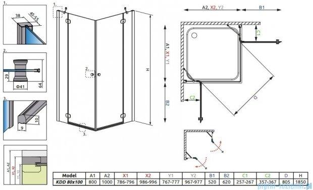 Radaway Torrenta Kdd Kabina prysznicowa 80x100 szkło przejrzyste + brodzik Doros D + syfon 32273-01-01NR