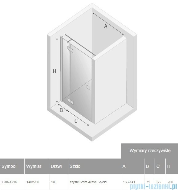 New Trendy Reflexa 140x200 cm drzwi wnękowe lewa przejrzyste EXK-1216