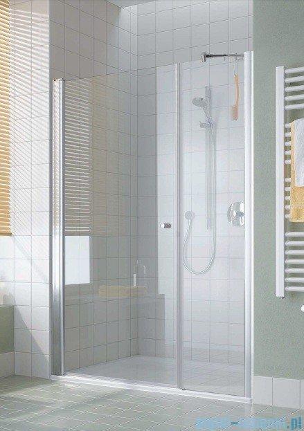 Kermi Atea Drzwi wahadłowe jednoskrzydłowe i pole stałe, prawe, szkło przezroczyste, profile białe 110cm AT1OR110182AK