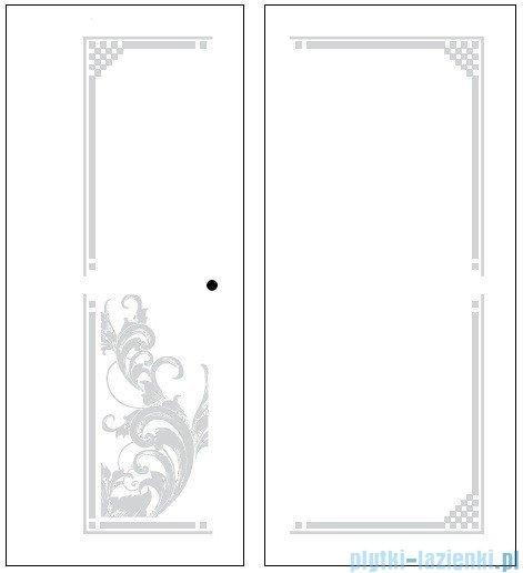Kerasan Kabina kwadratowa prawa, szkło dekoracyjne przejrzyste profile złote 100x100 Retro 9149N1