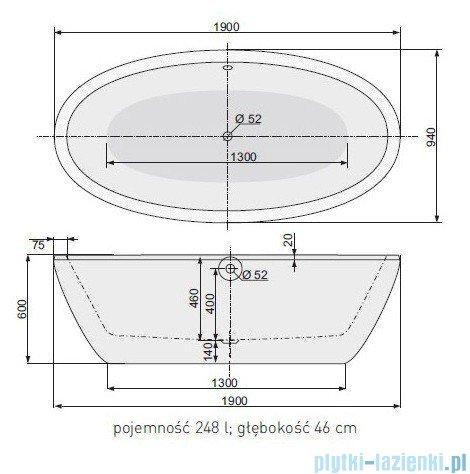 Poolspa Wanna VANITY 190x95 + zestaw przelewowo-odpływowy (chrom) PWKPL10ZP0C0000