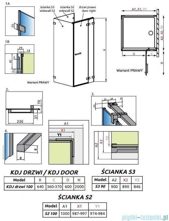Radaway Euphoria KDJ P Kabina przyścienna 100x90x100 prawa szkło przejrzyste 383040-01R/383032-01/383035-01