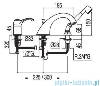 Tres Monoclasic 1900 Bateria wannowa trzyotworowa 1.42.145.02