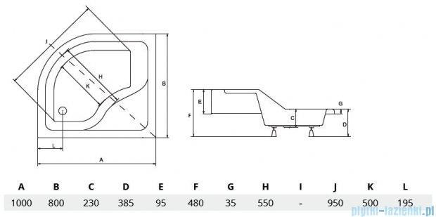 Piramida Maxi Brodzik 100x80cm asymetryczny z siedziskiem lewy