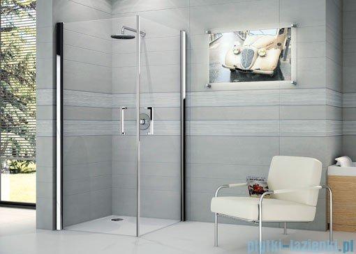Novellini Ścianka prysznicowa GIADA 2G 93 cm lewa szkło przejrzyste profil biały GIADN2G93LS-1A