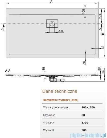 Sanplast Space Line brodzik prostokątny 170x90x3cm + syfon 615-110-0150-01-000