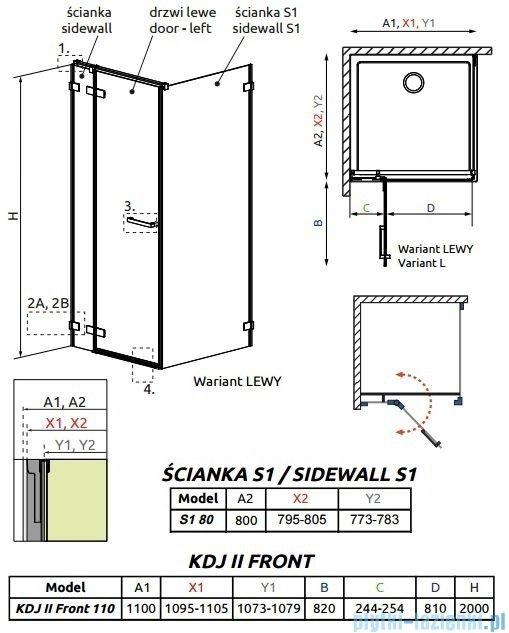 Radaway Arta Kdj II kabina 110x80cm lewa szkło przejrzyste 386457-03-01L/386040-03-01L/386020-03-01