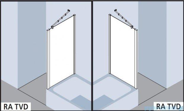 Kermi Raya Ściana boczna skrócona, szkło przezroczyste z KermiClean, profile srebrne 90x175 RATVD09017VPK