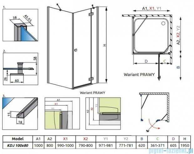 Radaway Almatea Kdj Kabina prostokątna 100x80 Prawa szkło grafitowe + Brodzik Doros D + syfon 32142-01-05NR