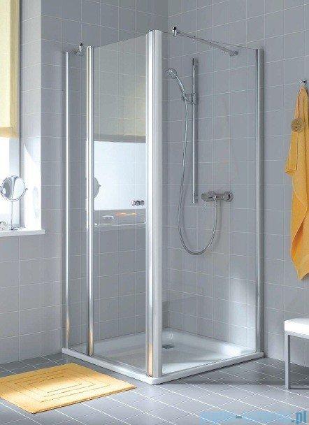 Kermi Atea Drzwi wahadłowe jednoskrzydłowe z polem stałym, lewe, szkło przezroczyste, profile srebrne 85cm AT1GL08518VAK