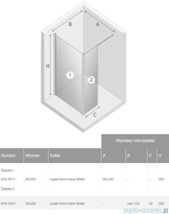 New Trendy New Modus kabina Walk-In 90x30x200 cm przejrzyste EXK-0017/EXK-0053