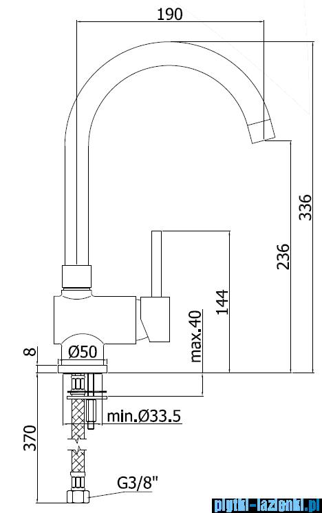 Paffoni Bateria zlewozmywakowa stojąca Stick chrom SK180CR