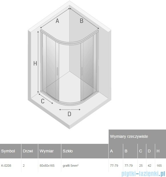 New Trendy Varia kabina półokrągła 80x80x165cm szkło grafit K-0208