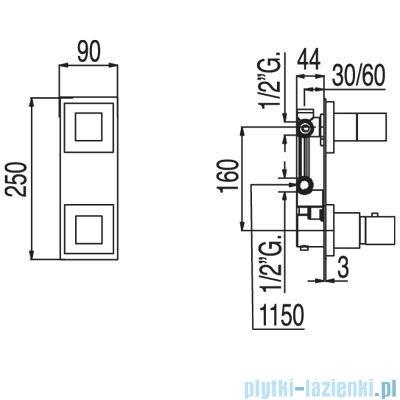 Tres Tresmostatic Cuadro Bateria termostatyczna podtynkowa jednodrożna kolor chrom 1.07.250