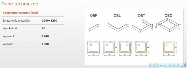 Sanplast Obudowa brodzika OBL 100x120x9 cm 625-400-1650-01-000