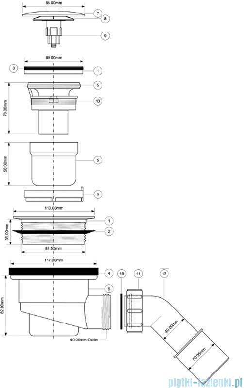 McAlpine Syfon 90 brodzikowy klik-klak chrom HC27-CLCP