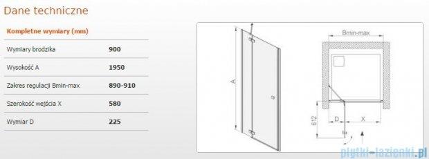 Sanplast drzwi skrzydłowe DJ2/FREE-90 90x195 cm przejrzyste 600-260-0320-42-401