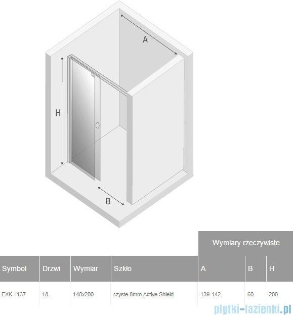 New Trendy drzwi prysznicowe Porta 140x200cm lewe szkło przejrzyste EXK-1137
