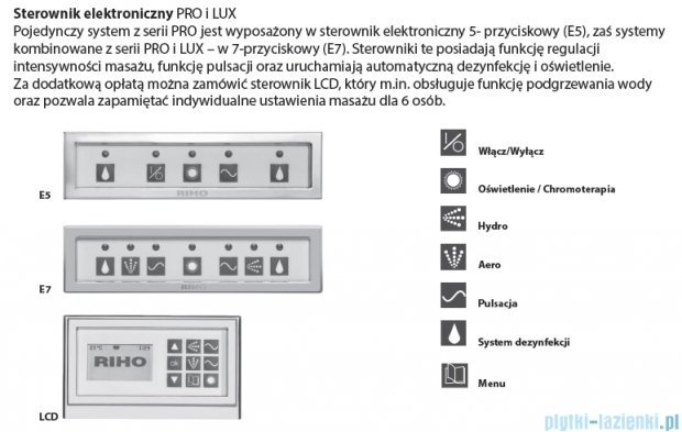 Riho Lusso Wanna prostokątna 190x90 z hydromasażem LUX Hydro 4+4+2/Aero11 BA99L8