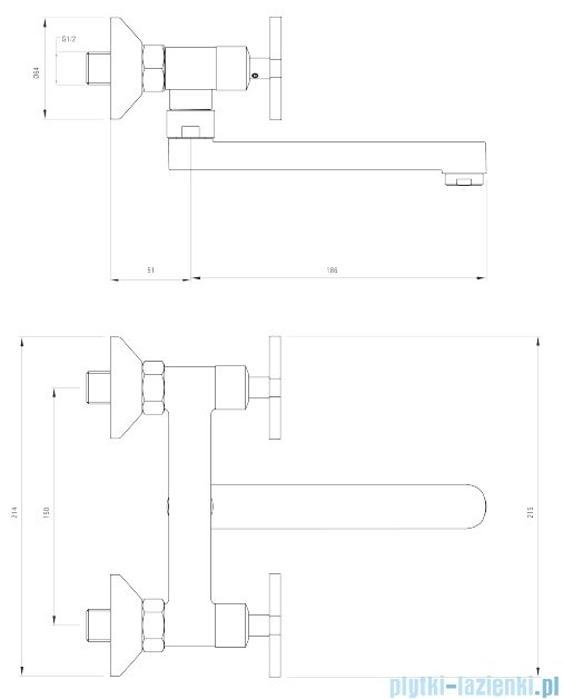 Deante Lucerna bateria umywalkowa ścienna chrom BEL 050D