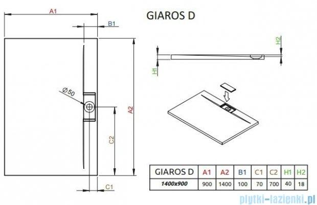 Radaway Giaros D Brodzik prostokątny 140x90x4cm MKGD1490-03