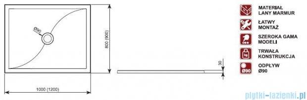 Aquaform Versus brodzik prostokątny 90x120x3cm 06940