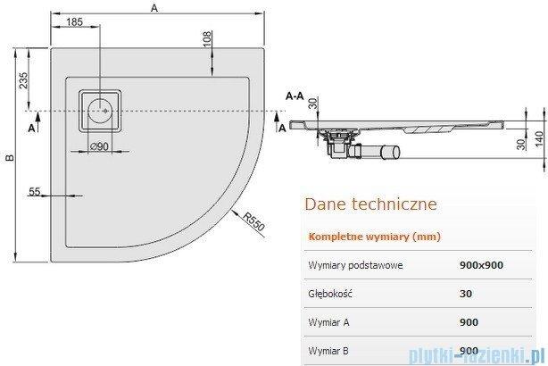 Sanplast Brodzik półokrągły Space Line 90x90x3cm + syfon 615-110-0330-01-000