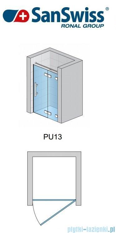 SanSwiss Pur PU13 Drzwi 1-częściowe wymiar specjalny profil chrom szkło Pas satynowy Prawe PU13DSM11051