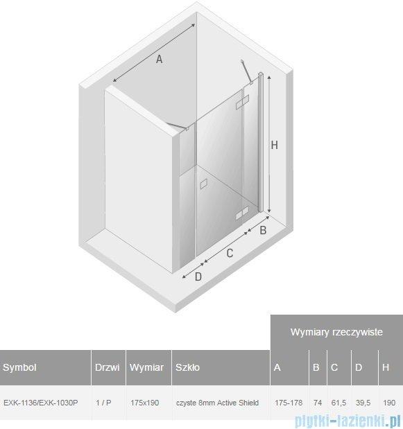 New Trendy Modena Plus drzwi prysznicowe 175cm prawe szkło przejrzyste EXK-1136/EXK-1030P
