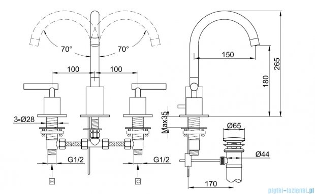Kohlman Roxin 3-otworowa bateria umywalkowa QB200R