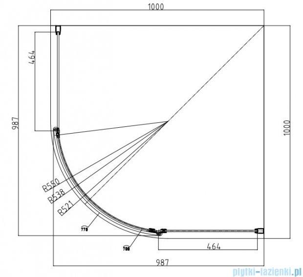 Omnires Manhattan Kabina 1-skrzydłowa półokrągła 100x100x185cm szkło przejrzyste ADF10X