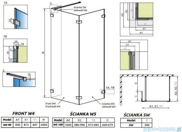 Radaway Euphoria Walk-in IV kabina 90x100cm szkło przejrzyste 383141-01-01/383152-01-01/383160-01-01
