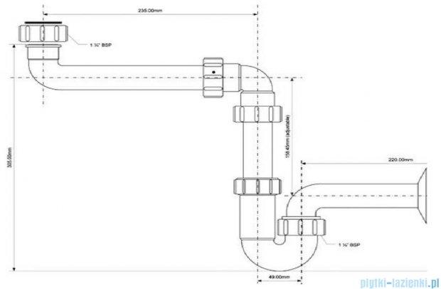 McAlpine Syfon umywalkowy rurowy biały HC4PF-32SPS