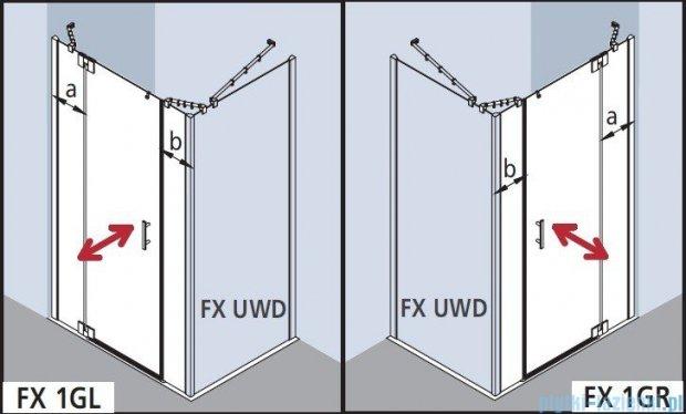 Kermi Filia Xp Drzwi wahadłowe 1-skrzydłowe z polami stałymi, lewe, przezroczyste KermiClean/srebrne 180x200cm FX1GL18020VPK