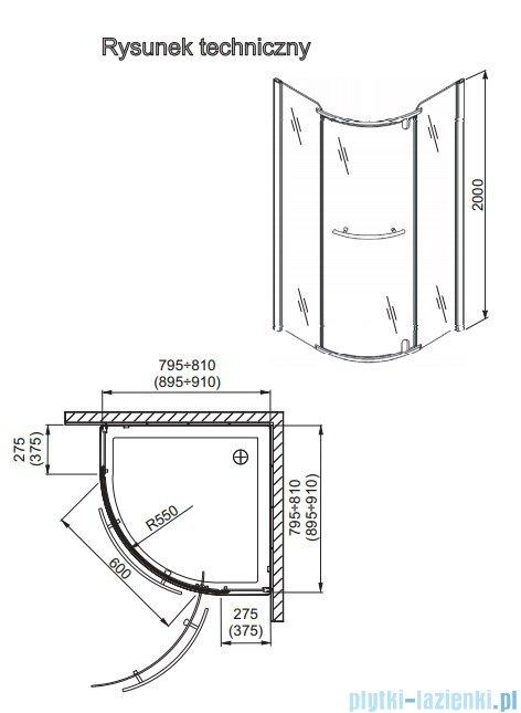 Aquaform Puenta Wind kabina półokrągła jednoskrzydłowa 80x80cm 100-06609