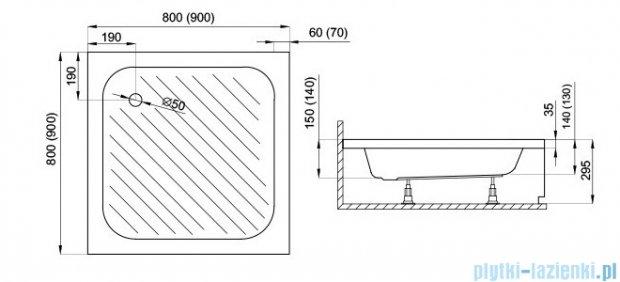 Polimat Karen brodzik kwadratowy ze stelażem 80x80x15 00074