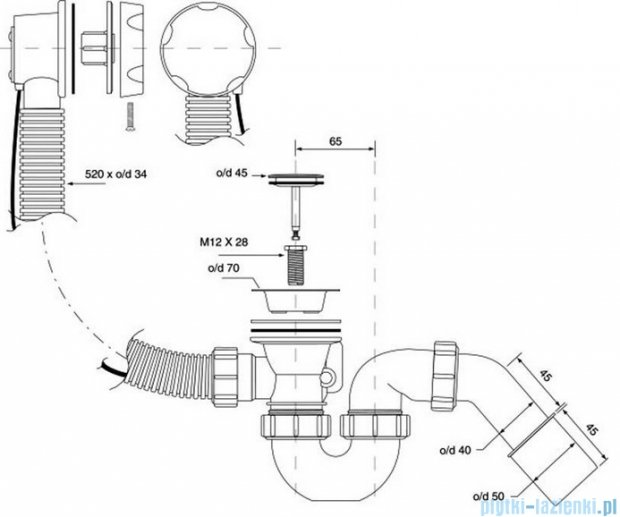 McAlpine syfon wannowy z korkiem automatycznym pokrywa satyna HC31M-S2-SC