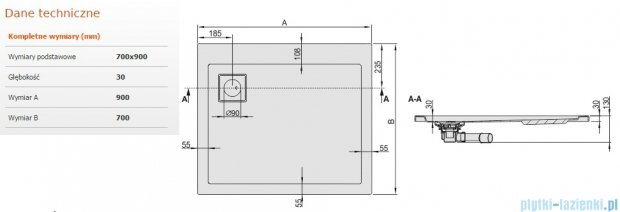 Sanplast Space Line brodzik prostokątny 90x70x3 cm + syfon 615-110-0610-01-000