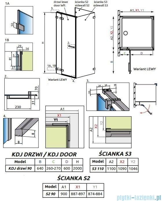 Radaway Euphoria KDJ P Kabina przyścienna 90x110x90 lewa szkło przejrzyste 383044-01L/383030-01/383039-01