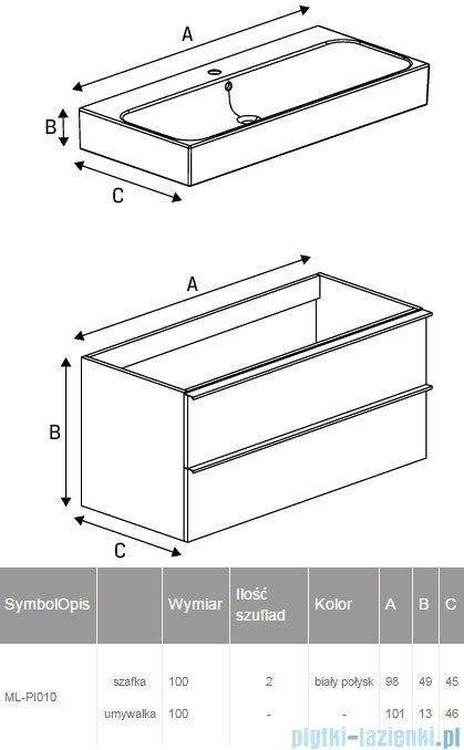 New Trendy Kubiko szafka wisząca podumywalkowa + umywalka biały połysk 100 cm ML-PI010