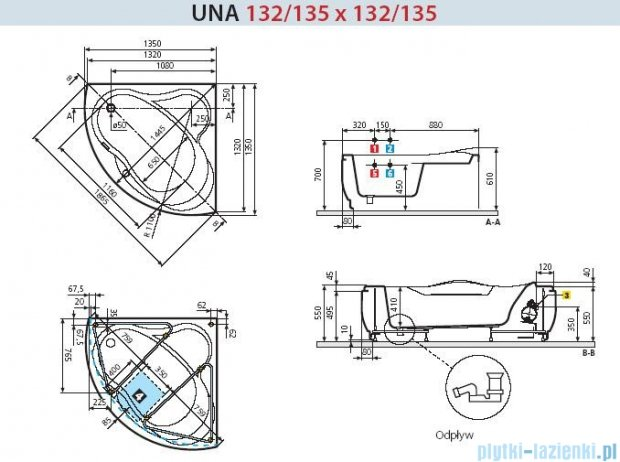 Novellini Wanna UNA HYDRO 135x135 UNA5135135OF-A0K