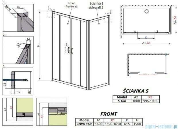 Radaway Premium Plus DWD+S kabina prysznicowa 160x100cm szkło przejrzyste 33363-01-01N/33423-01-01N