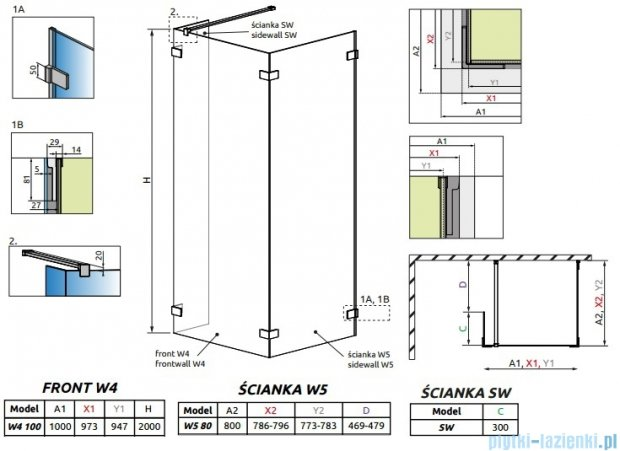 Radaway Euphoria Walk-in IV kabina 100x80cm szkło przejrzyste 383142-01-01/383150-01-01/383160-01-01