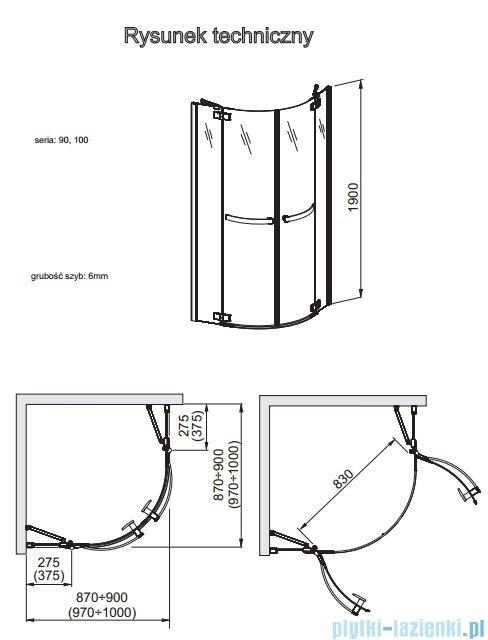 Aquaform HD Collection kabina półokrągła 90x90cm przejrzyste 100-09370