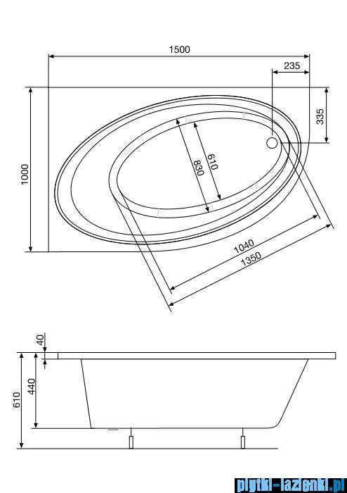 Roca Orbita wanna 150x100cm lewa z hydromasażem Smart Air Plus A24T203000